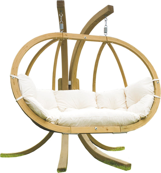 Globo Double Hanging Chair, Natural, NEW! Outdoor Fabric - Swings N' Hammocks - 2