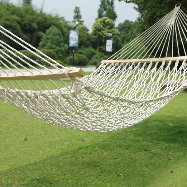 Adeco White Woven Rope Outdoor Hammock Chair with Spreader Bar - Swings N' Hammocks - 1