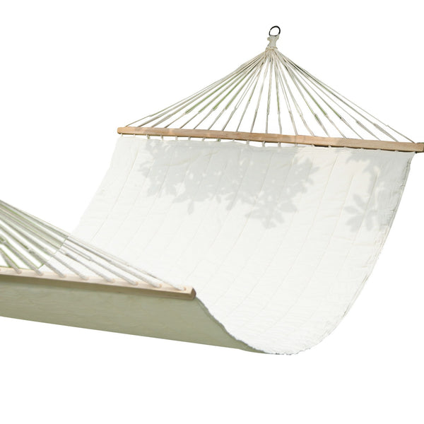 Adeco White Outdoor Hammock Chair with Spreader Bar - Swings N' Hammocks - 1