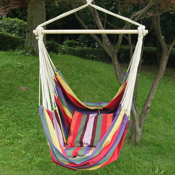 Adeco Rainbow Striped Outdoor Hammock Chair with 2 Pillows - Swings N' Hammocks - 1
