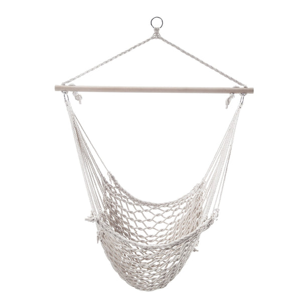 Adeco White Woven Rope Outdoor Hammock Chair - Swings N' Hammocks - 1