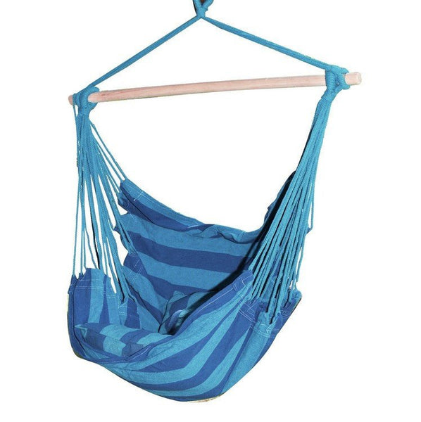 Adeco Naval-Style Cotton Fabric Canvas Hammock Tree Hanging Suspended Outdoor Indoor Chair Royal Blue Color  17 inches Wide Seat - Swings N' Hammocks - 1