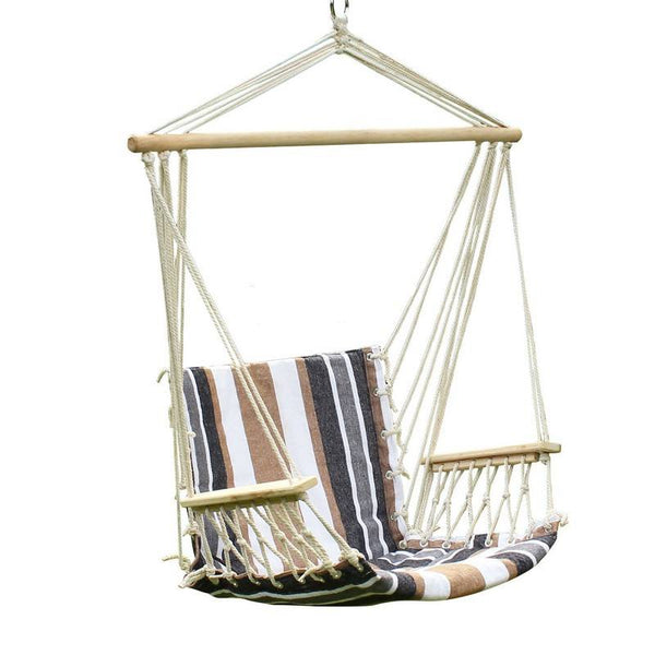 Adeco Teutonic White Stripe Hammock Chair with Wooden Armrest (17 inch wide) - Swings N' Hammocks - 1