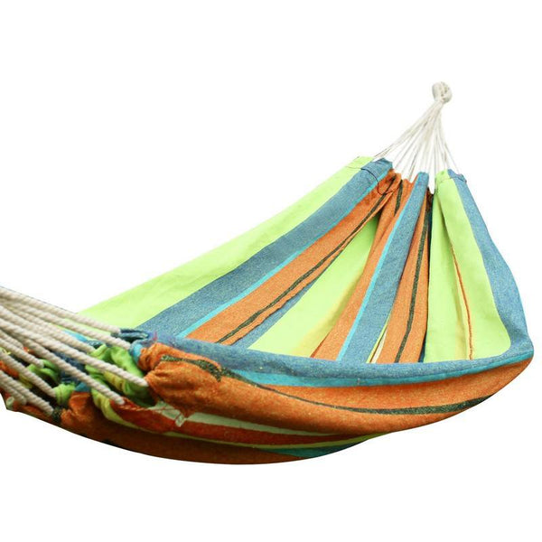Adeco Emerald Isles Yellow and Green Stripe Hammock Bed (63 inch wide) - Swings N' Hammocks - 1