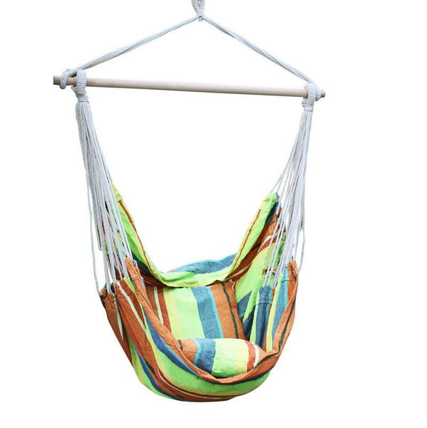 Adeco Emerald Isles Yellow and Green Stripe Hammock Chair with Pillow and Cushion (17 inch wide) - Swings N' Hammocks - 1