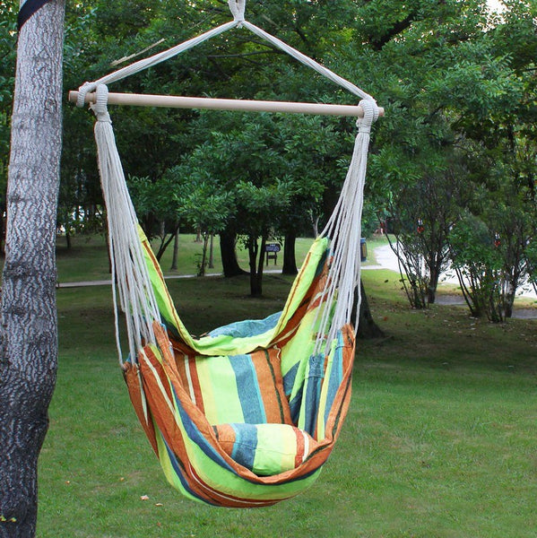Adeco Emerald Isles Yellow and Green Stripe Hammock Chair with Pillow and Cushion (17 inch wide) - Swings N' Hammocks - 2