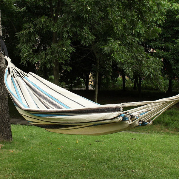 Adeco Teutonic White Stripe Hammock Bed (63 inch wide) - Swings N' Hammocks - 1