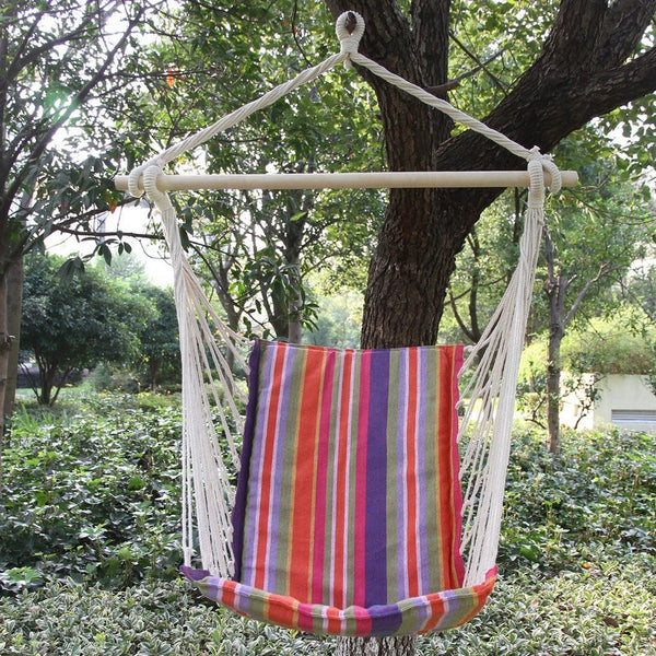 Adeco Cotton Fabric Hanging Chair With High Back - Swings N' Hammocks - 3