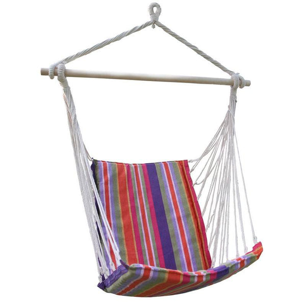 Adeco Cotton Fabric Hanging Chair With High Back - Swings N' Hammocks - 1