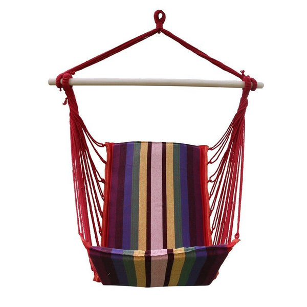 Adeco Cotton Fabric Hanging Chair High Back Deluxe Style - Swings N' Hammocks - 1