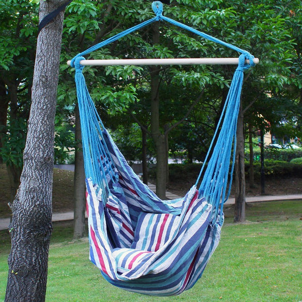Adeco Naval-Style Atlantis Blue Stripe Hammock Chair with Pillow and Cushion (17 inch wide) - Swings N' Hammocks - 2