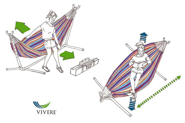 Vivere's Combo - Double Desert Moon Hammock with Stand (9ft) - Swings N' Hammocks - 2