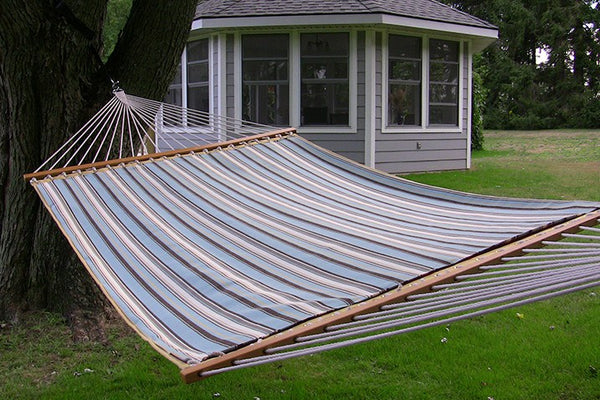 SUNBRELLA QUILTED HAMMOCK - DOUBLE (Carnegie Celeste) - Swings N' Hammocks - 1