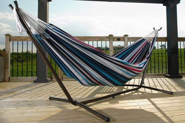 Vivere's Combo - Double Denim Hammock with Stand (9ft) - Swings N' Hammocks - 1