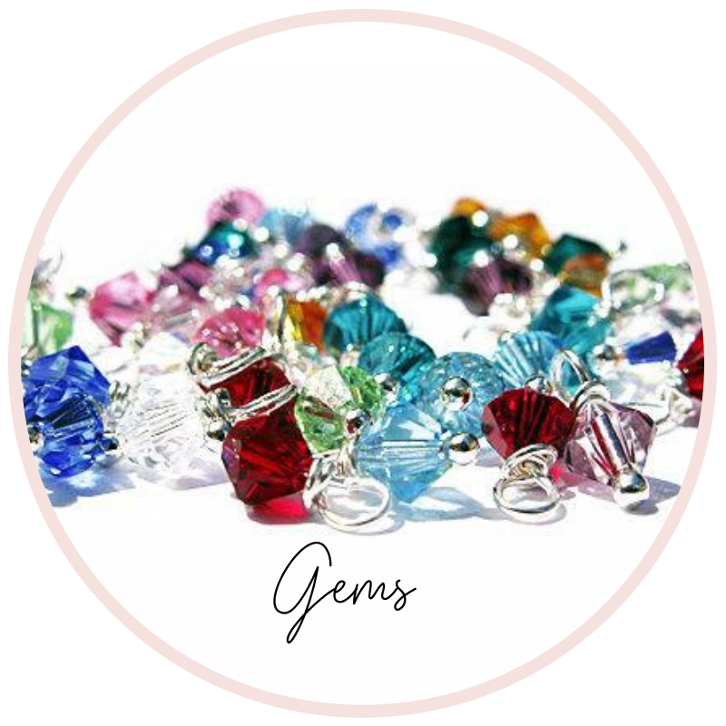Birthstone crystals, pearls, Swarovski Crystals, Diamonds, Add ons, charms