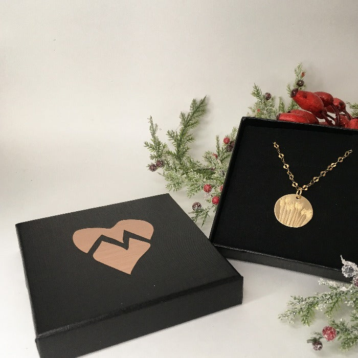 Marni LuHu black gift box with a copper foil heart on it it and the Golden Fields of Wheat Necklace inside