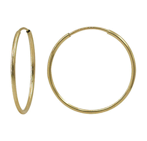 Gold filled hoops, facing forward and side angle