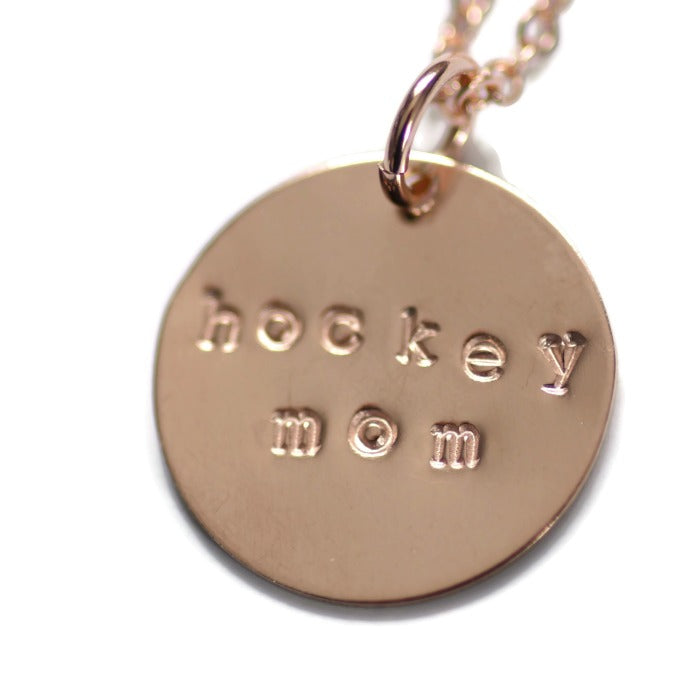 Hockey Mom necklace in rose gold filled, close up