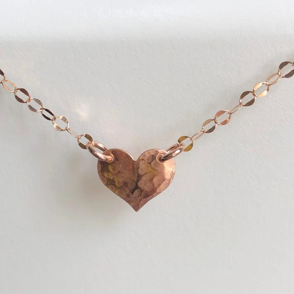 Heart Choker, Rose Gold Heart Necklace
