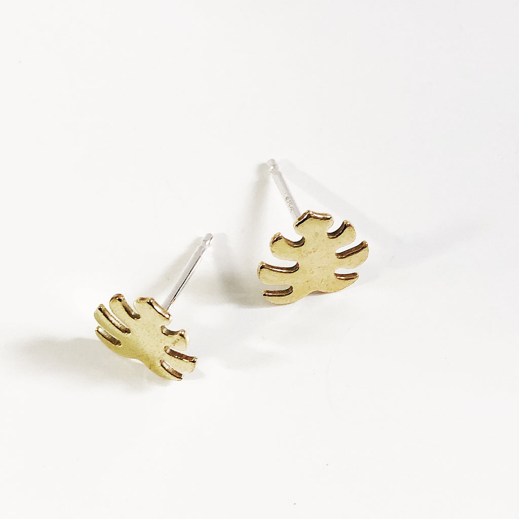 Monstera Leaf Studs