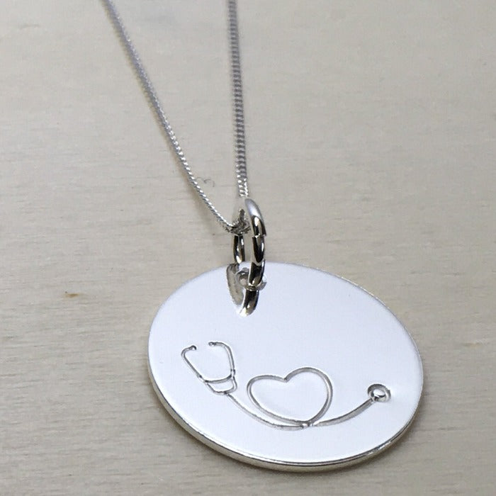 Stethoscope necklace in sterling silver