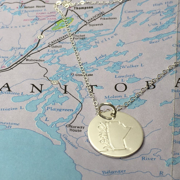 hand stampedSterling silver  Manitoba necklace with home in cursive