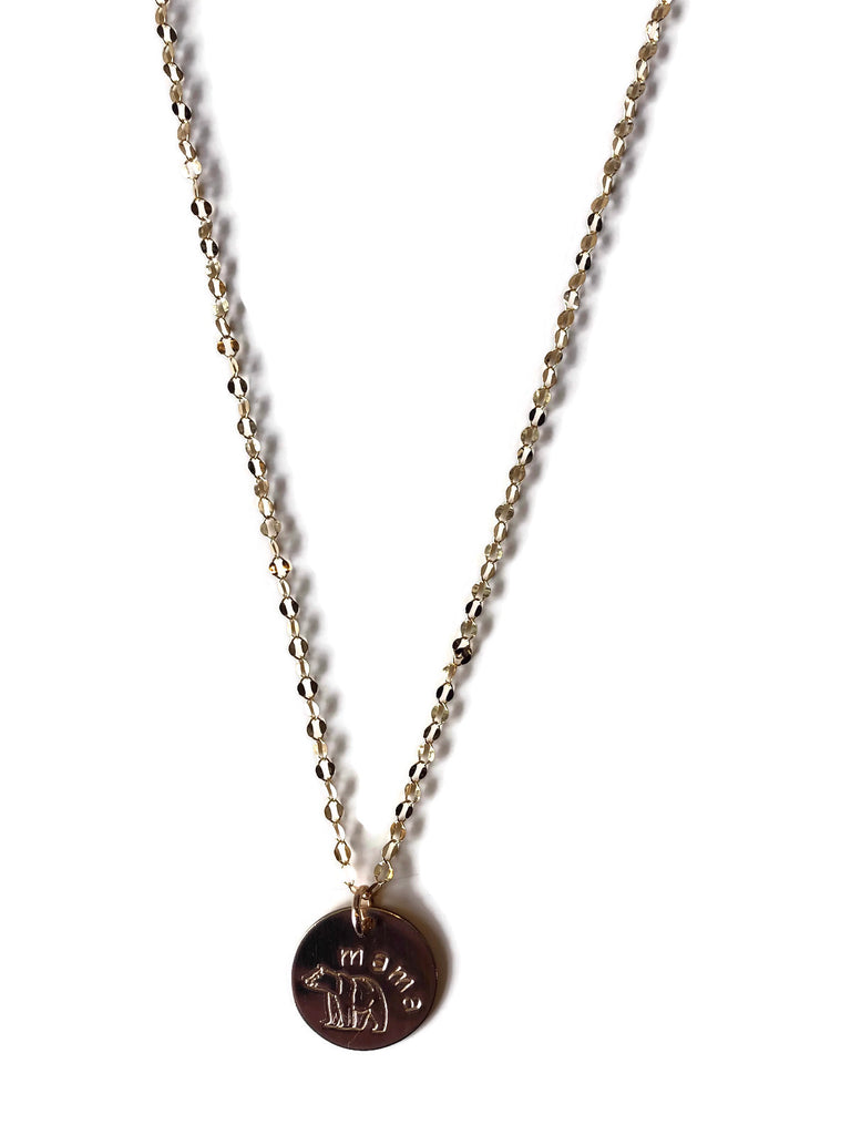 Mama Bear Disk Necklace