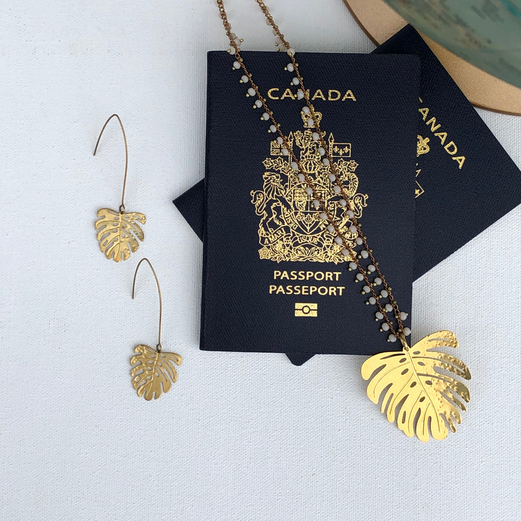 Hanging Monstera Earrings