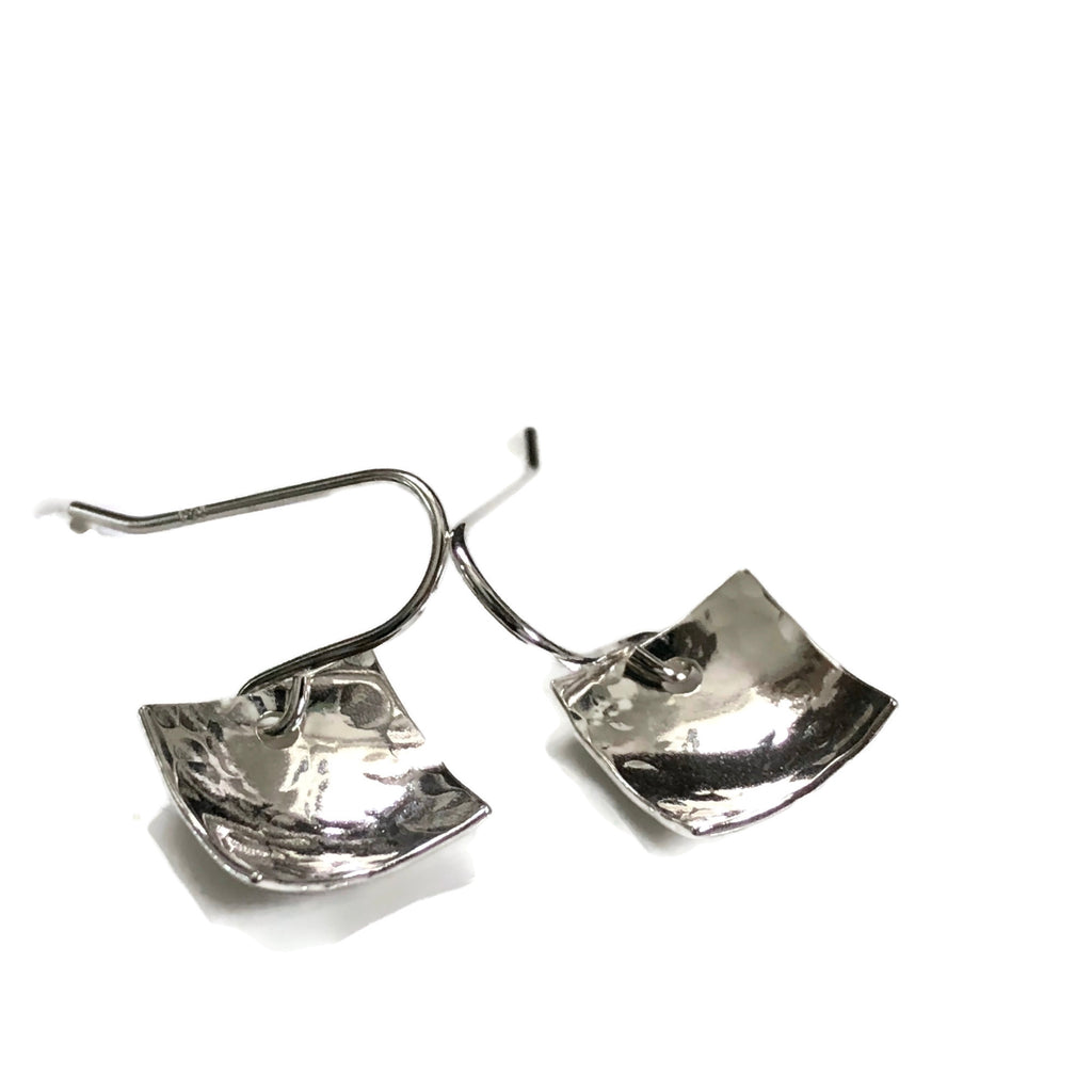 Concave sterling silver square earrings - hammered texture