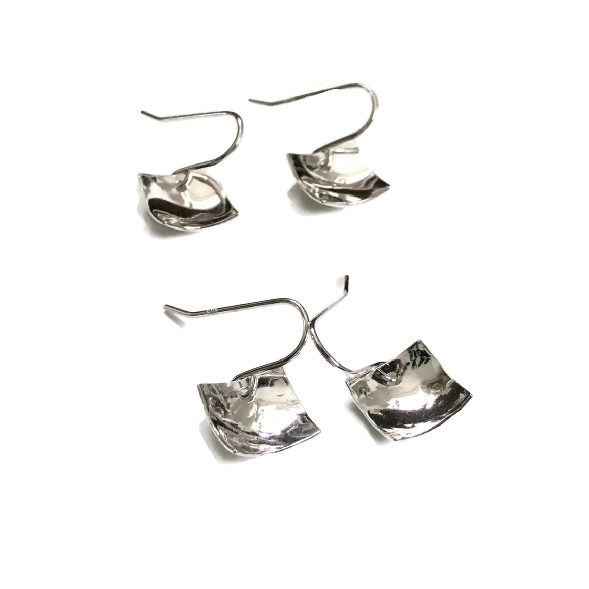Concave sterling silver square earrings, both hammered and shiny