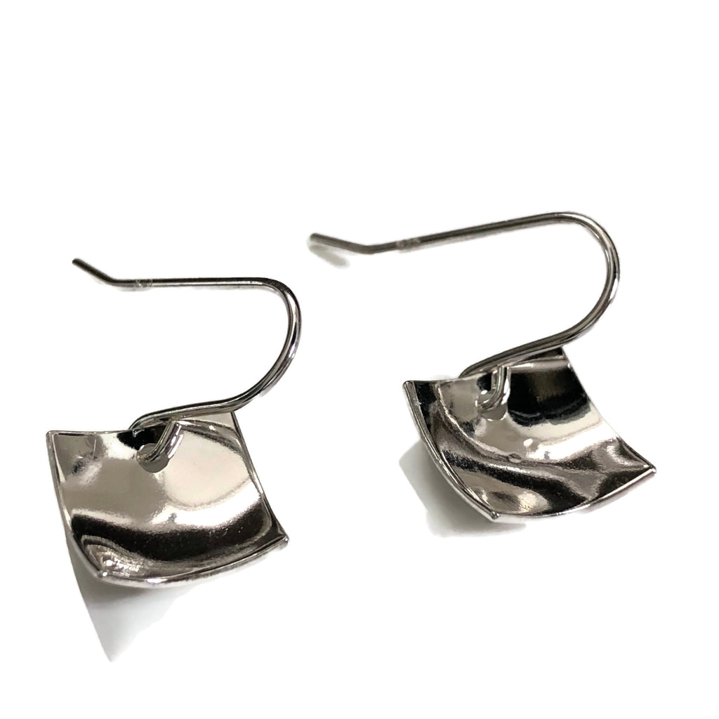 Concave sterling silver square earrings -hammered texture
