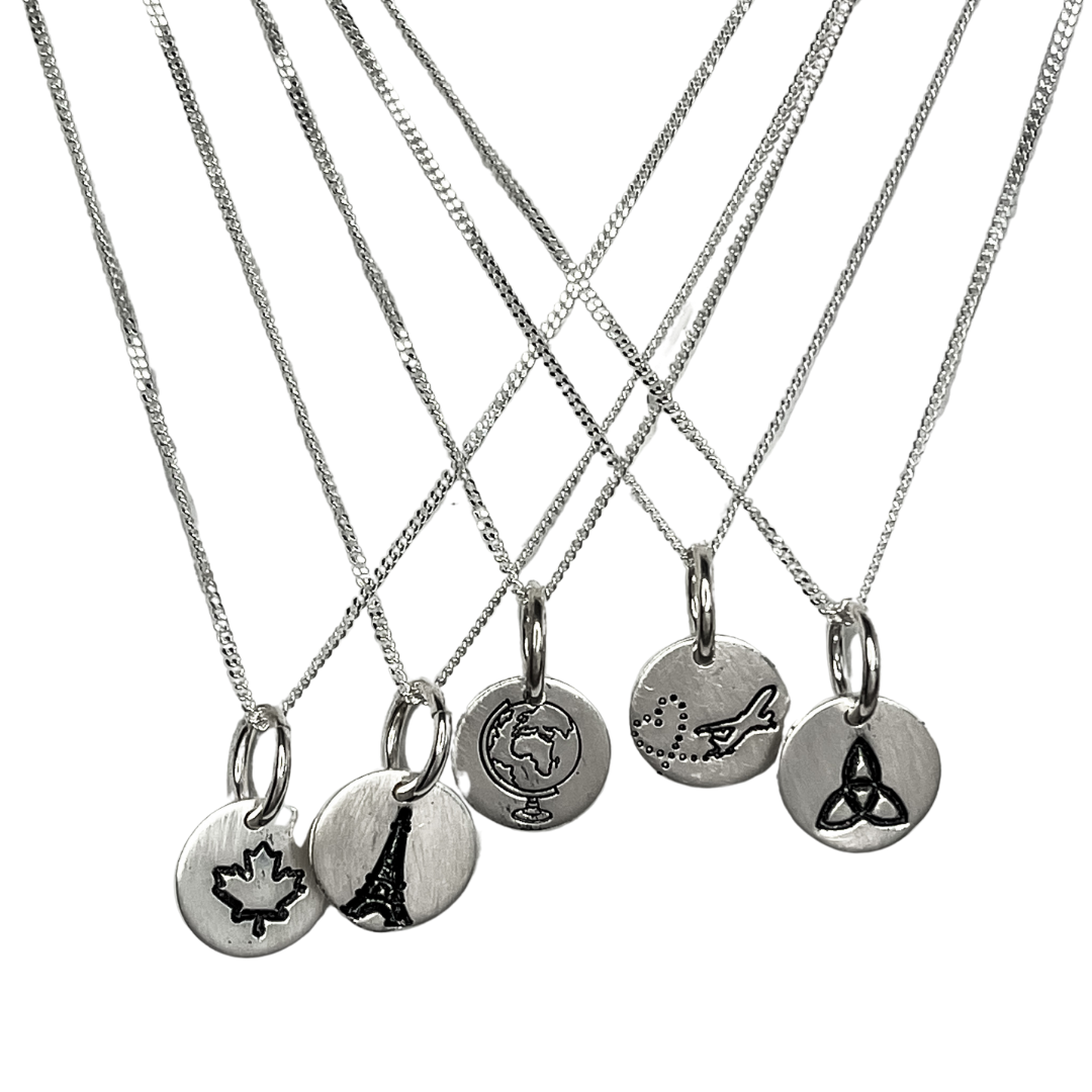 Mini Icon  Necklace Travel Edition, hanging necklaces with a maple leaf, eiffel tour, globe, jet plane, cletic knot