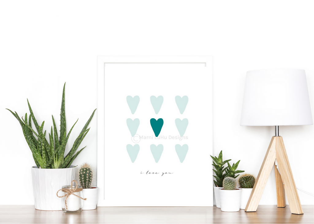 Nine of Hearts Mint by Marni LuHu Designs