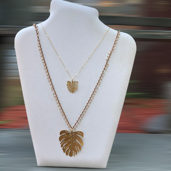 Small Monstera Necklace