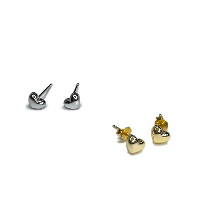 Puffed Heart Studs in sterling silver or 14K Gold Plated