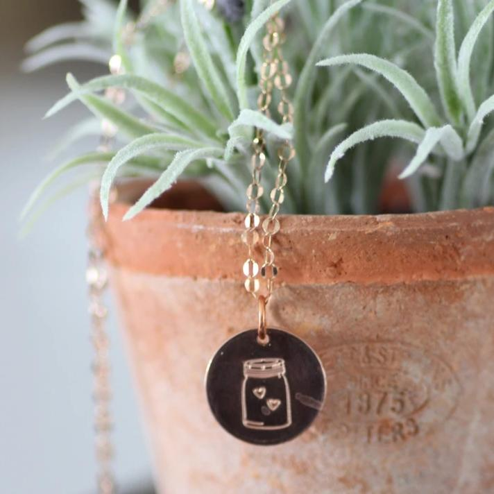 Mason Jar Necklace, Jar(Full) Necklace