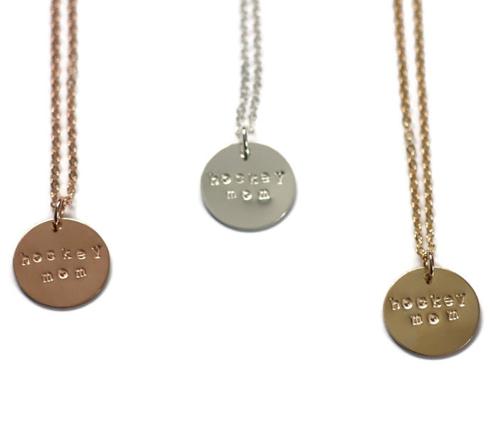Hockey Mom necklace shown in rose gold, sterling silver and gold
