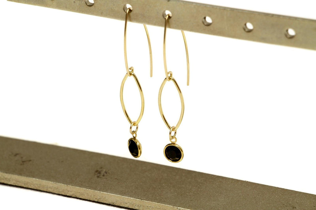 Crystal Maze Earrings Black Dangle