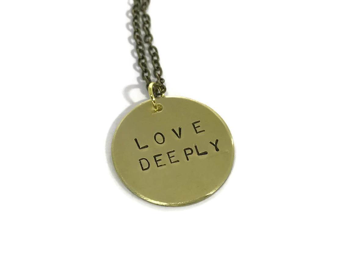 HL Small Gold Disk Necklace - Love Deeply