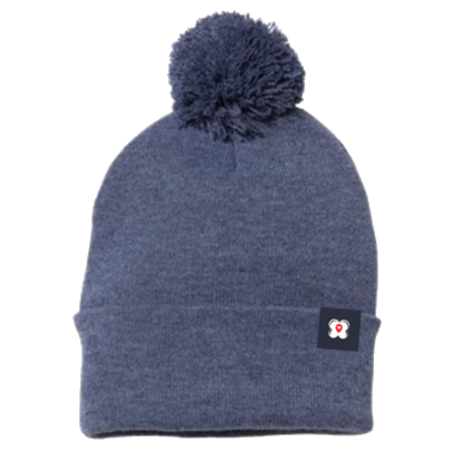 Heather Navy Pom Beanie