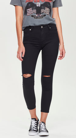 high waisted skinny ripped jean
