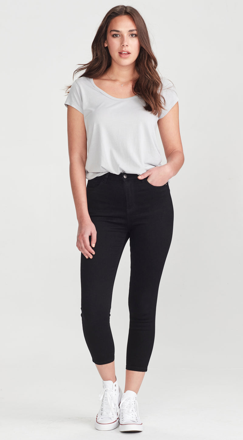 High waisted skinny jean cropped
