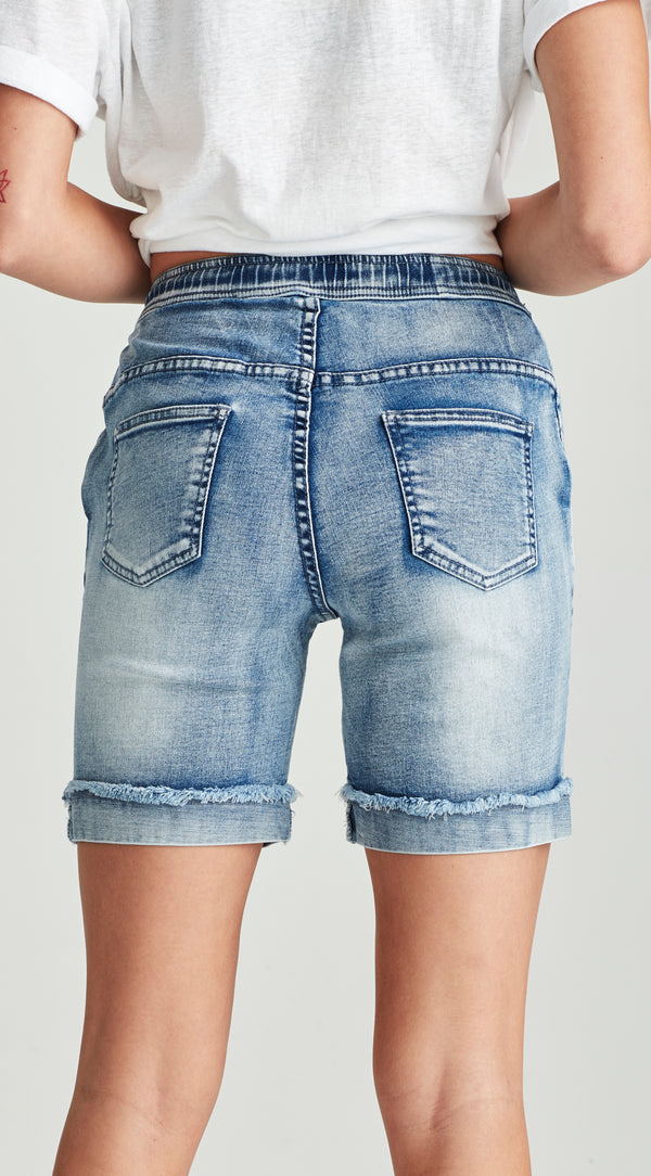 Plus size soft denim long shorts