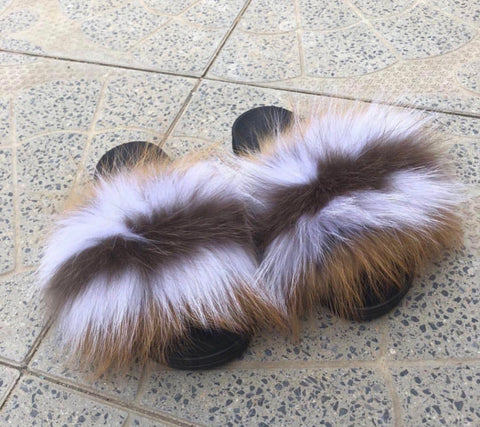 Melody fox fur slides