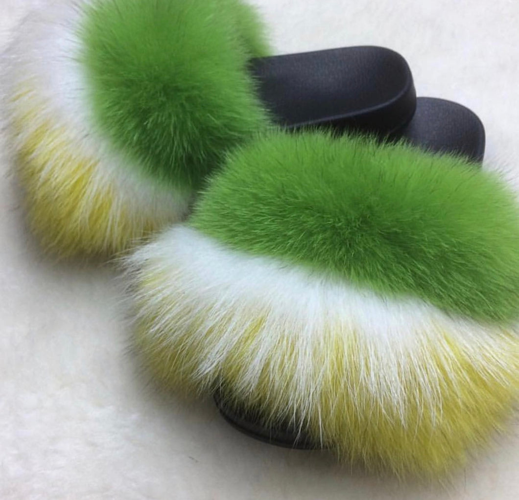Lemon Lime fox fur slides