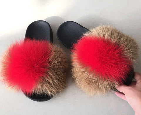 Paris fox fur slides