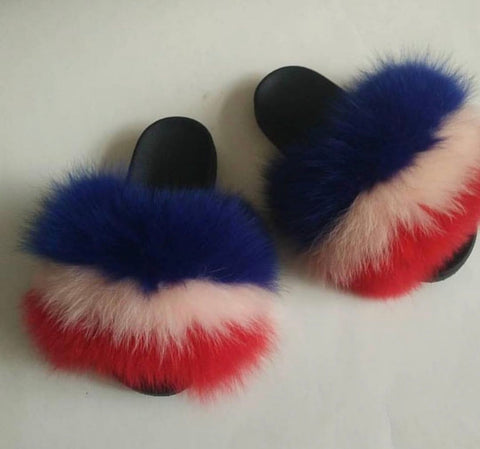 Shayla fox fur slides