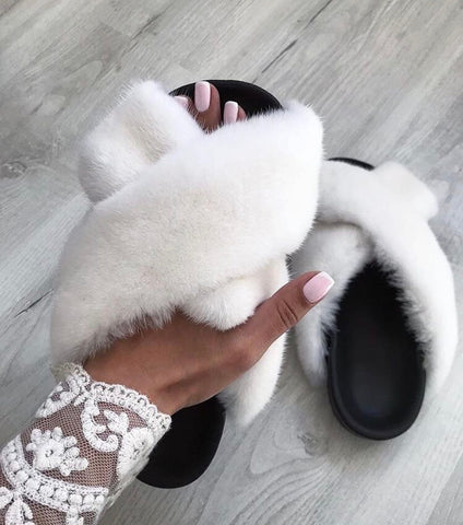 valentina cross white mink fur slides