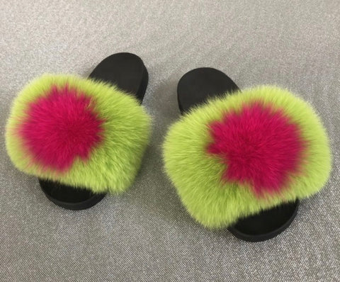 Slime lime green fox fur slides - Feeling Fanci