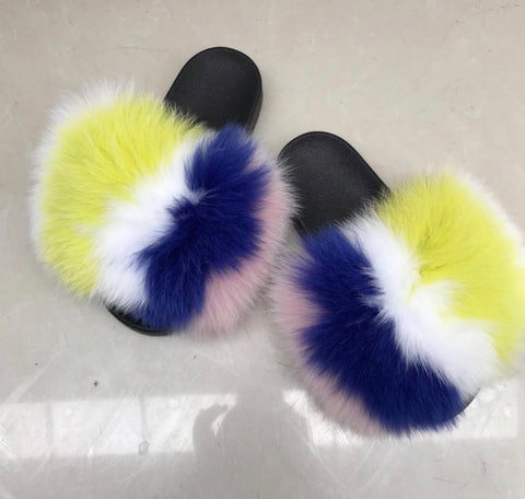 Surprise fox fur slides - Feeling Fanci